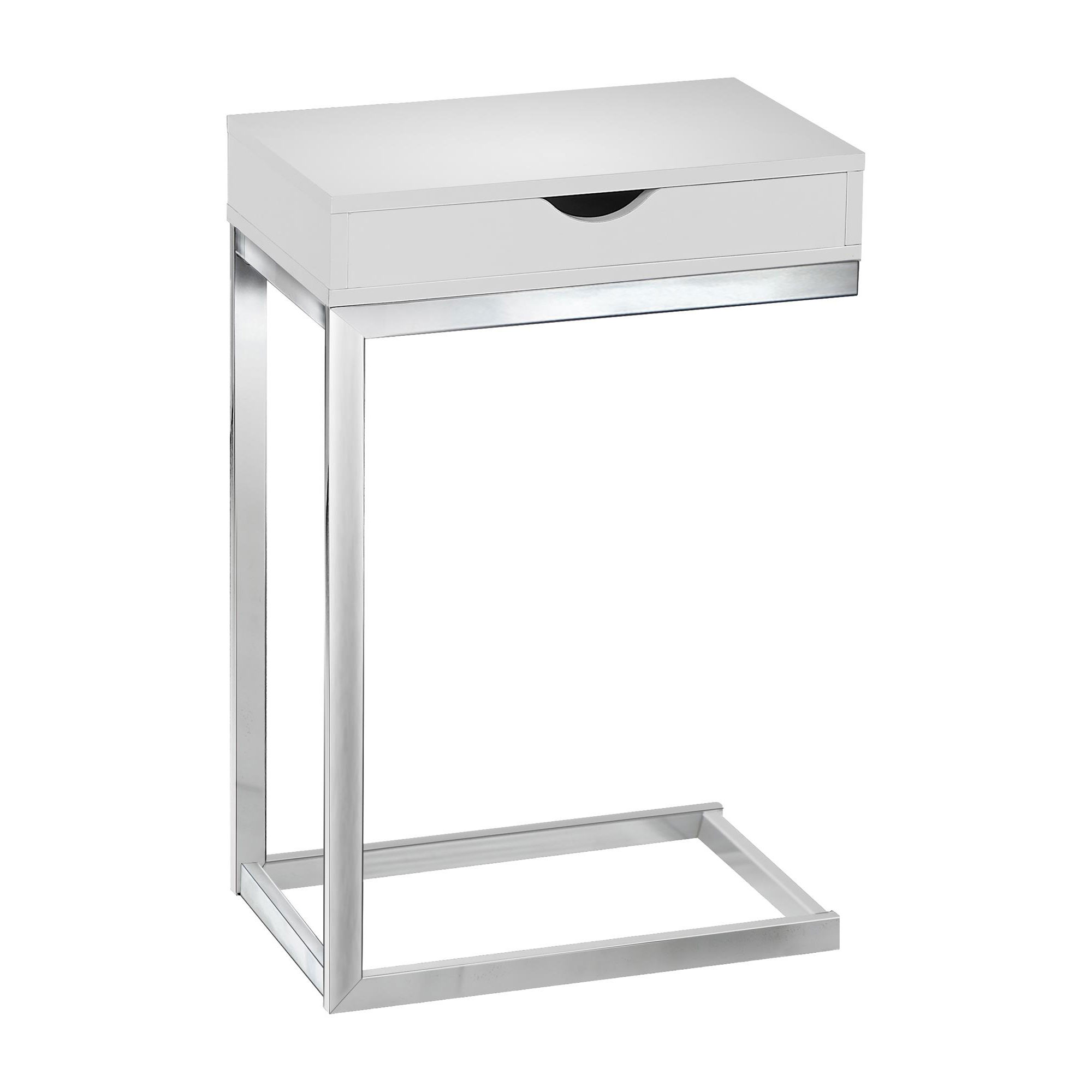 Monarch Accent Table Chrome Metal   Glossy White With A Drawer by Monarch Specialties