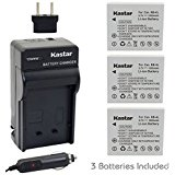 Kastar Battery (3_Pack) and Charger Kit for Canon NB_4L, ...