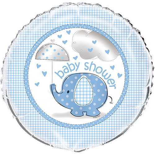 "18"" Foil Blue Elephant Baby Shower Balloon"