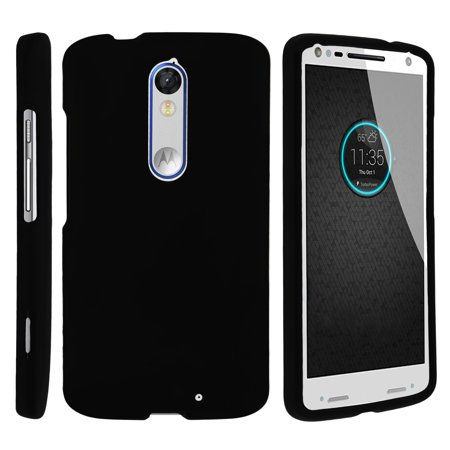 Motorola Droid Turo 2 XT1585, Moto X Force, Kinzie, [SNAP SHELL][Matte Black] 2 Piece Snap On Rubberized Hard Plastic Cell Phone Cover with Cool Designs - Black