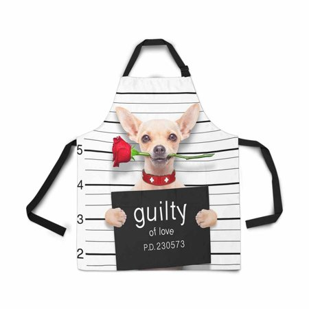 ASHLEIGH Adjustable Bib Apron for Women Men Girls Chef with Pockets Valentines Chihuahua Dog Rose Mugshot Guilty Love Novelty Kitchen Apron for Cooking Baking Gardening Pet Grooming Cleaning