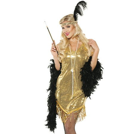 Gold Sequined Swinging Flapper Dress 20's The Great Gatsby Halloween Costume](Great Gatsby Clothes For Women)