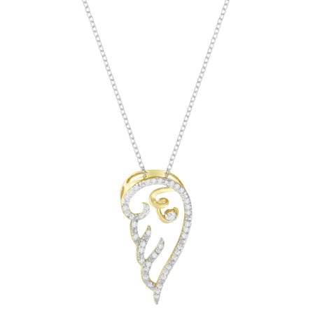Yellow Plated Sterling Silver 1/4 CTTW Diamond Angel Wing Pendant