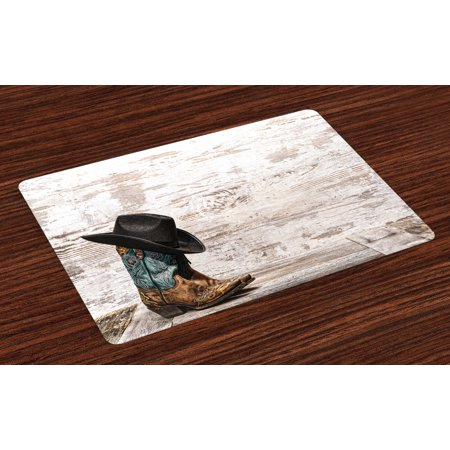 Western Placemats Set of 4 Traditional Rodeo Cowboy Hat and Cowgirl Boots Retro Grunge Background Art Photo, Washable Fabric Place Mats for Dining Room Kitchen Table Decor,Brown Black, by Ambesonne for $<!---->
