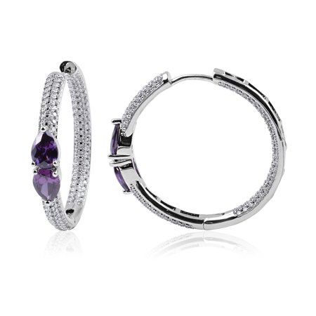 Silvertone Cubic Zircon Amethyst White Cubic Zirconia CZ Hoops Hoop Earrings for Women for Women Cttw 4.7 Jewelry Gift