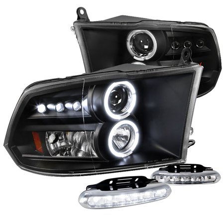 Spec-D Tuning For 2009-2017 Dodge Ram Led Halo Black Projector Headlights Signal + LED Fog Lamps (Left+Right) 2009 2010 2011 2012 2013 2014 2015 2016 2017 2018