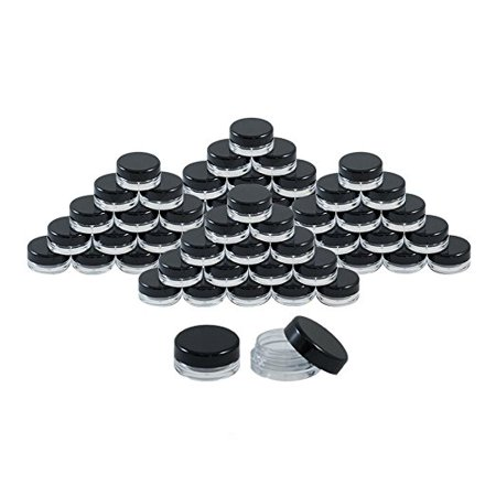 Houseables 3 Gram Jar, 3 ML Jar, 100 pcs, BPA Free, Cosmetic Sample Empty Container, Plastic, Round Pot Black Screw Cap Lid, Small Tiny 3g Bottle, for Make Up, Eye Shadow, Powder, Gems, Paint, Jewelry
