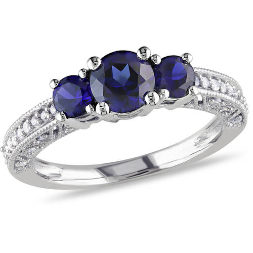 1 Carat T.G.W. Created Blue Sapphire and 1/6 Carat T.W. Diamond 10kt White Gold Three-Stone Ring