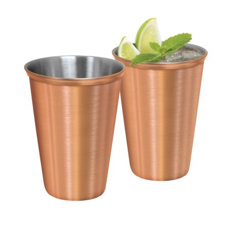 OGGI - 12oz. Stainless Steel Tumblers with Satin Finish Copper Plated Exterior Set of 2 ()