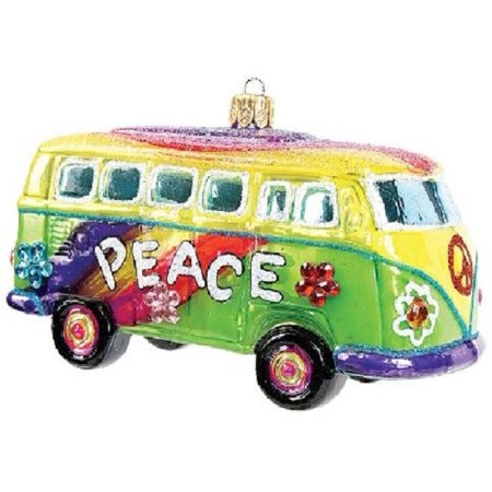 Hippie VW Bus Polish Glass Christmas Ornament Made in Poland Decoration
