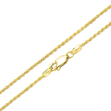 2.5MM 040 Gauge Strong 14K Gold Plated 925 Sterling Silver Rope Link Chain Necklace For Women Made In Italy 16 20 24 In