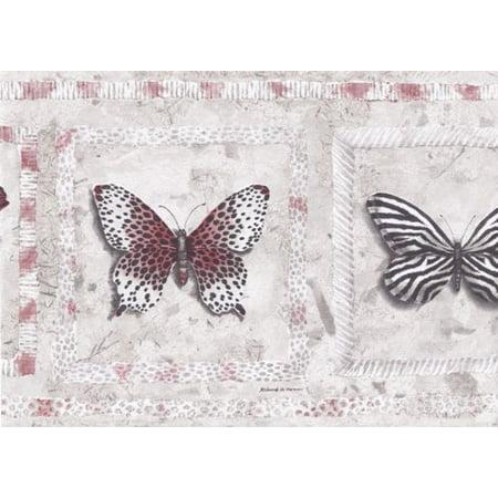 Wallpaper For Less AW77382 Stone Animal Print Butterflies Wallpaper Border, Red