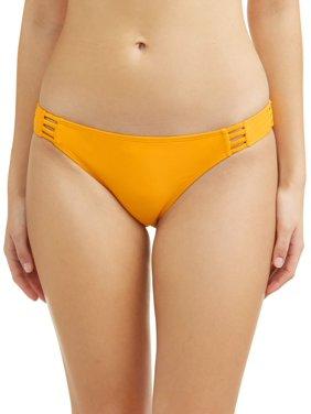 No Boundaries Juniors' solid strappy scoop swimsuit bottom