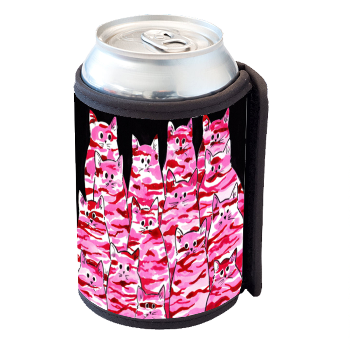 KuzmarK Insulated Drink Can Cooler Hugger - Pink Camo Camouflage Kitties Abstract Cat Art by Denise Every