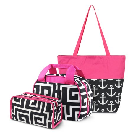 Zodaca 3 Piece Set Bags: 1 x Small Insulated Lunch Tote Bag + 1 x Travel Cosmetic Makeup Organizer Case Bag Pouch + 1 x Large All Purpose Travel Tote Bag, Black Greek Key with Pink Trim