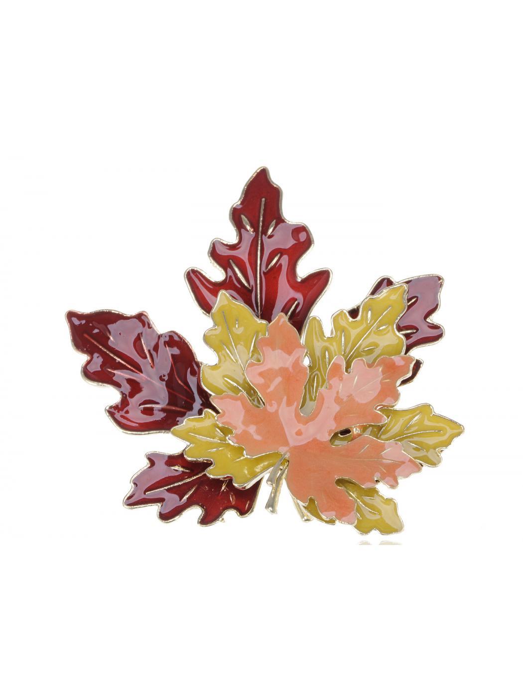 Golden Tone Metal Red Yellow Orange Enamel Maple Leaf Fashion Pin Brooch by