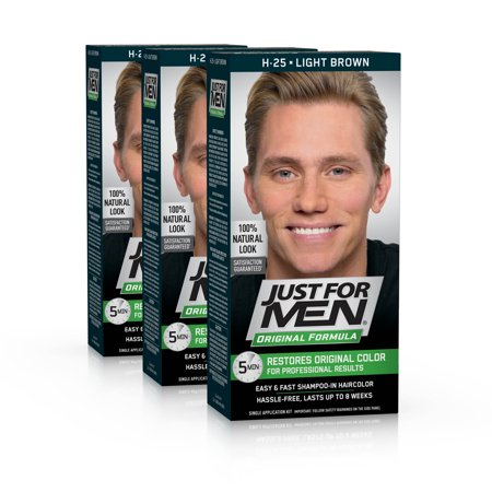 Just for Men Original Formula, Easy and Fast Shampoo-In Men's Hair Color, Light Brown, Shade H-25 (Pack of 3) - 1970 Mens Hair