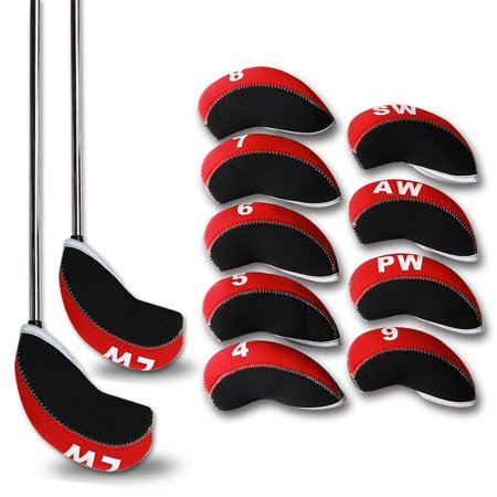 - 11pcs Neoprene Golf Club Iron Cover Headcover Black/Red