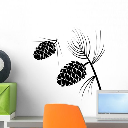 Pinecone Wall (Vector Illustration Pinecone Wood Wall Decal by Wallmonkeys Peel and Stick Graphic (18 in W x 18 in H) WM120875 )