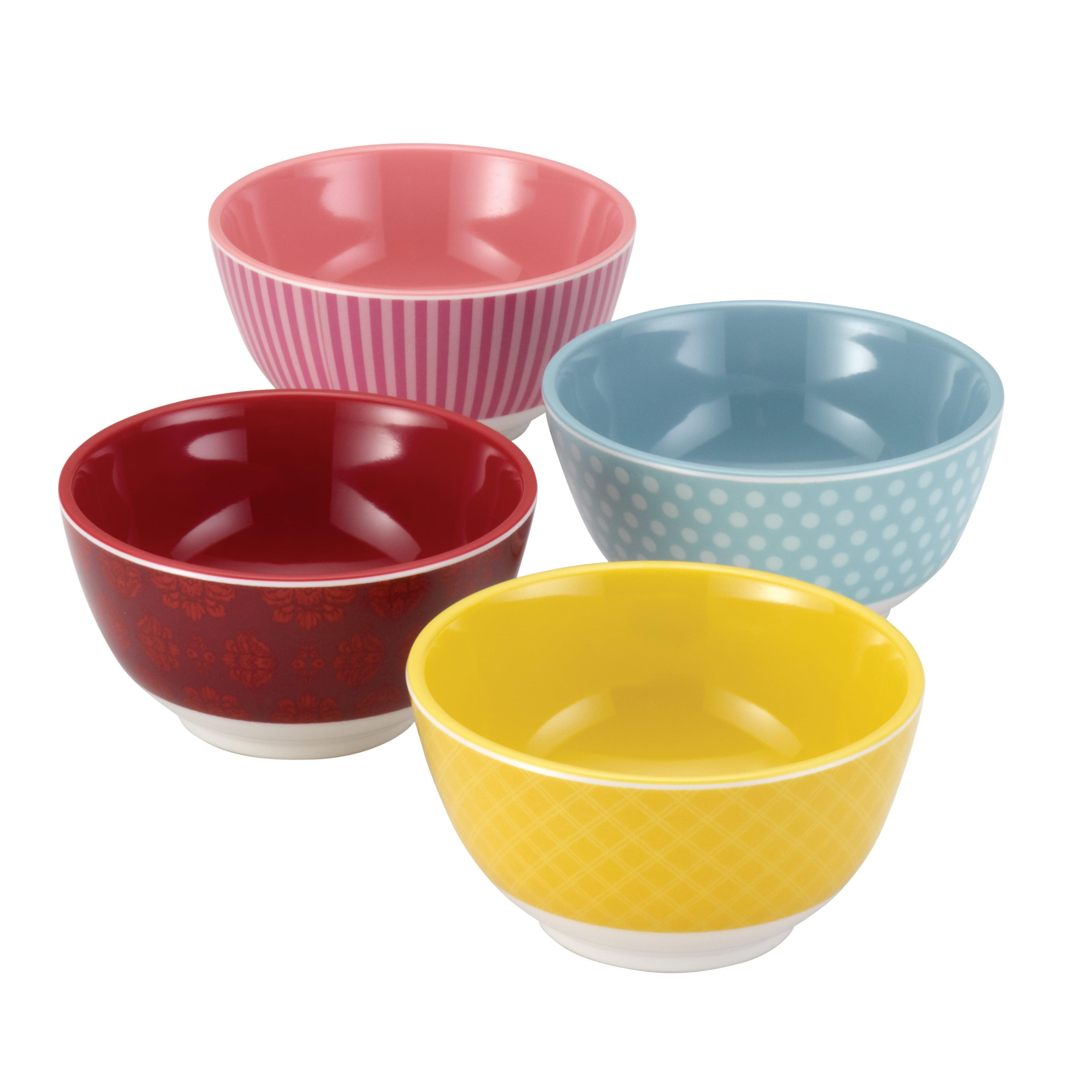 "Cake Boss Countertop Accessories 4-Piece Melamine Prep Bowl Set, ""Basic"" Pattern, Print"
