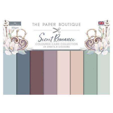 The Paper Boutique Secret Romance Colour Card Collection A4 24 Sheets 8 Colours