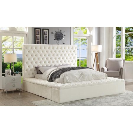 Meridian Furniture Bliss Traditional White Velvet Queen Size Storage