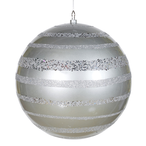 """Silver Glazed and Sequin Stripes Shatterproof Christmas Ball Ornament 16"""" (400mm)"""