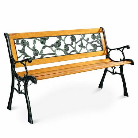 Costway Patio Park Garden Bench Porch Chair Outdoor Deck Cast Iron Hardwood Rose ()