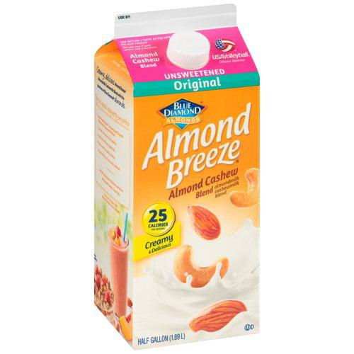 Almond Breeze Original Unsweetened Almond Cashew Blend Milk, Half Gallon