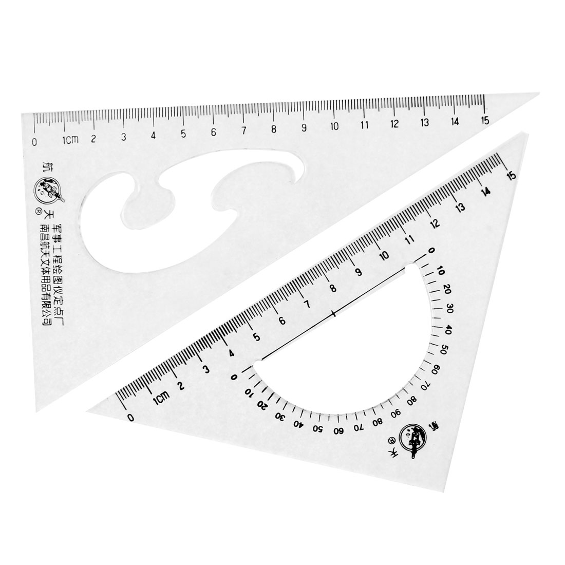 Office School Drafting Drawing Right Angle Triangle Ruler Protractor 2 Pcs by
