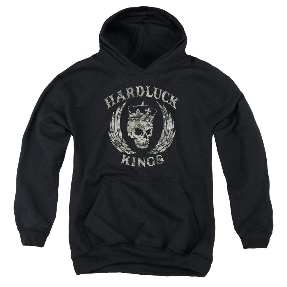Hardluck Kings Camo Logo Big Boys Pullover Hoodie