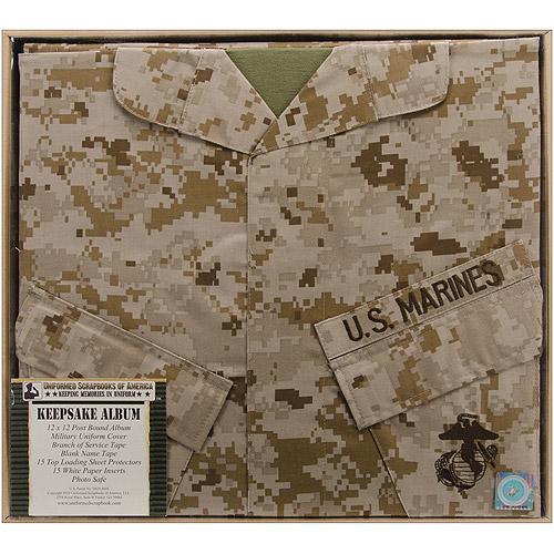 Uniformed Scrapbooks MARSBK01 U. S.  Marine Keepsake Post Bound Album 12 inch x 12 inch - Desert Camo