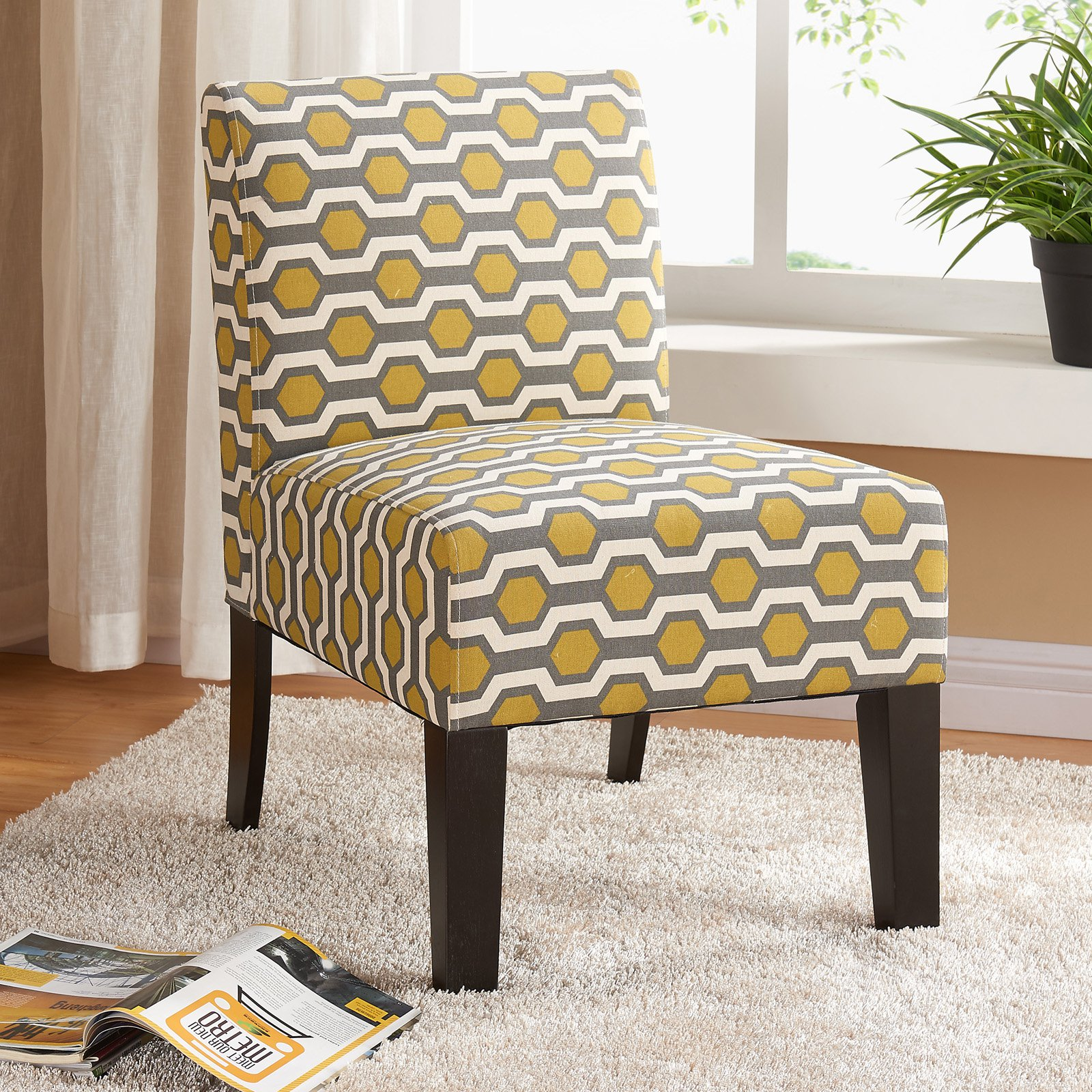 Allegro Side Chair Gray Yellow Hex