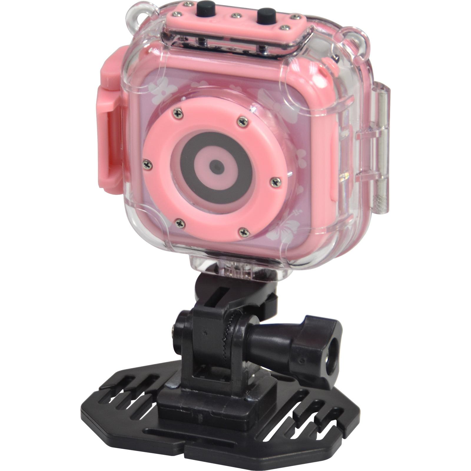 Precision Design K1 Kids HD Action Camera Camcorder (Pink) with Helmet + Bike / Handlebar Mounts