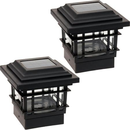 2 Pack GreenLighting Black Classica High Lumen Deck Fence Solar Post Cap Lights ()