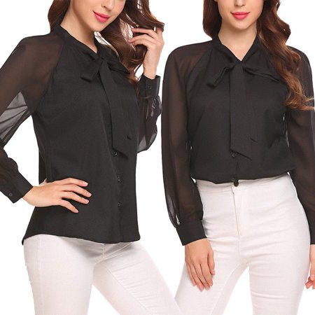 Women Chiffon Blouse Long Sleeve Loose Tops Shirtd Bow O Neck OL Work Wear Blouses Shirts Black S](Chiffon Bows)