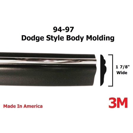1994-1997 Dodge Ram Black/Chrome Side Body Trim Molding 1 7/8