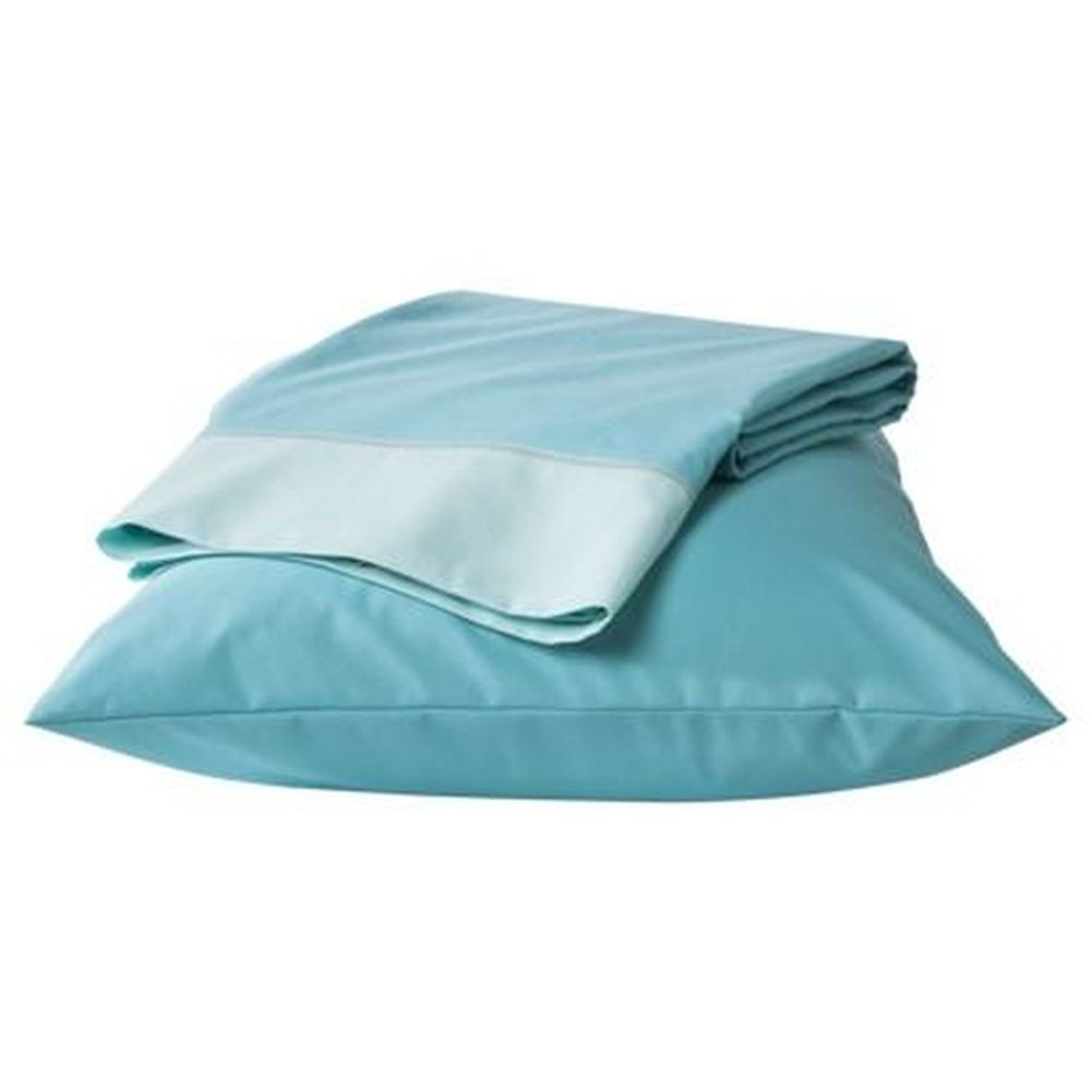 Room Essentials Sheet Set Turquoise Aqua Trim Twin XL Dorm Bed Sheets  Bedding