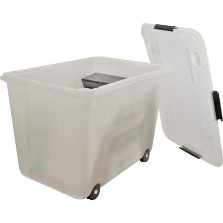 Advantus Rolling Storage Box, Letter/Legal, 15-Gallon Size, Clear