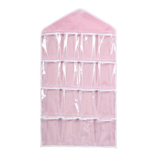 Pixnor 16 Pockets Clear Over Door Hanging Bag Shoe Rack Hanger Underwear  Socks Bra Closet Storage
