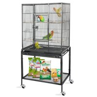 """Zeny 53"""" Rolling Bird Cage Large Wrought Iron Cage for Cockatiel Sun Conure Parakeet Finch Budgie Lovebird Canary Medium Pet House with Rolling Stand"""