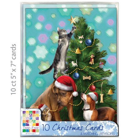 Tree Trimming Party (Tree-Free Greetings Christmas Cards and Envelopes, Set of 10, 5 x 7