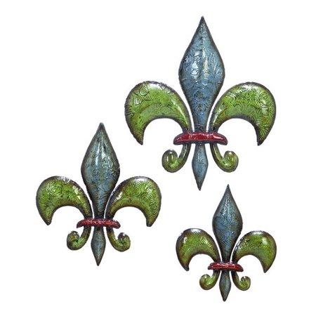 metal fleur de lis set of 3 benzara. Black Bedroom Furniture Sets. Home Design Ideas