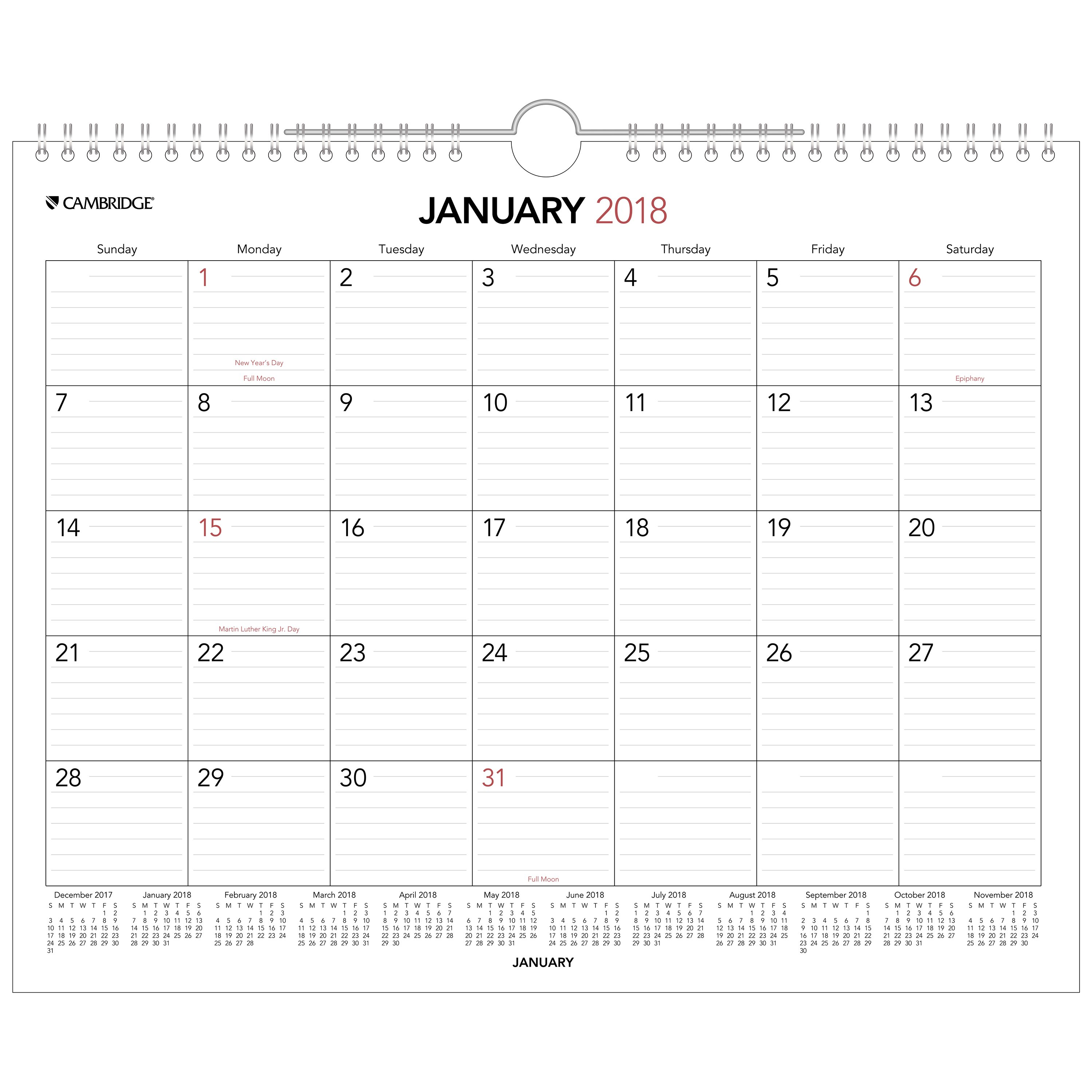 "Click here to buy 2018 Mead Cambridge Monthly Wall Calendar, 12 Months, January Start, 14 7 8"" x 11 7 8\ by ACCO BRANDS."