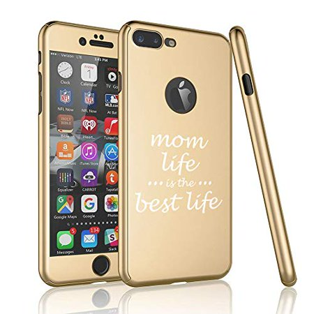 360° Full Body Thin Slim Hard Case Cover + Tempered Glass Screen Protector for Apple iPhone Mom Life is The Best Life Mother (Gold, for Apple iPhone 6 Plus / 6s