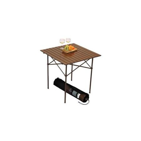 Tall Aluminum Portable Table in a Bag - Brown 27 x 27 x 27H