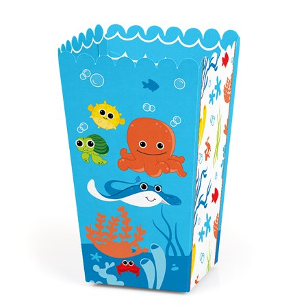 Under The Sea Critters - Baby Shower or Birthday Party Favor Popcorn Treat Boxes - Set of 12 - Under The Sea Party Favors