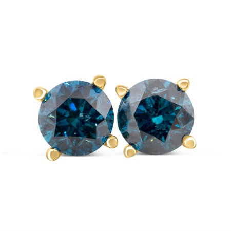 1.00cttw Blue Diamond Round Stud Earrings with screw backs in 14k Yellow Gold 14k Yellow Gold Stud Earrings
