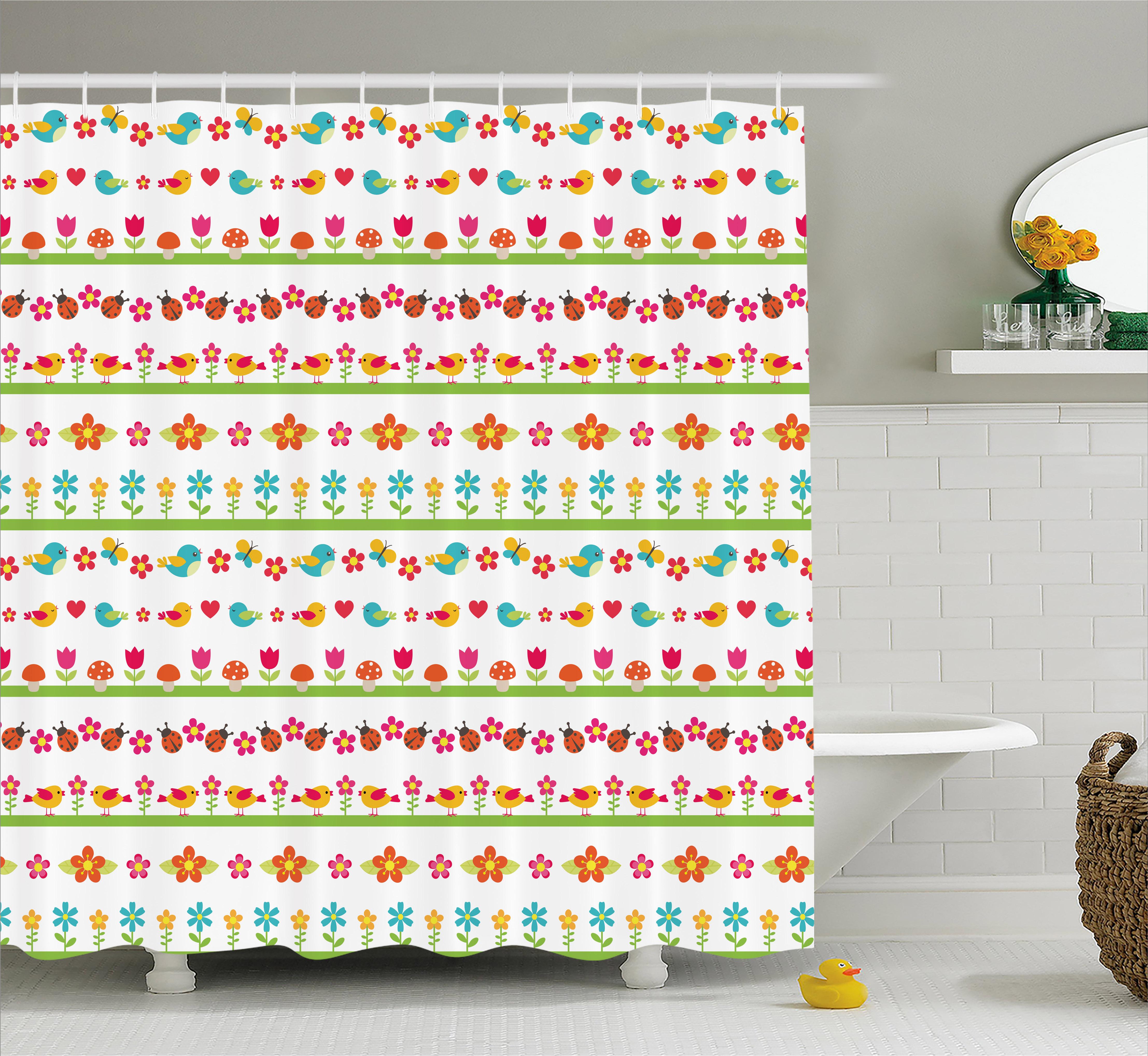 Kids Shower Curtain, Lovely Border Designs with Birds Ladybugs and Summer Flowers Cheering Nature Cartoon, Fabric Bathroom Set with Hooks, 69W X 75L Inches Long, Multicolor, by Ambesonne
