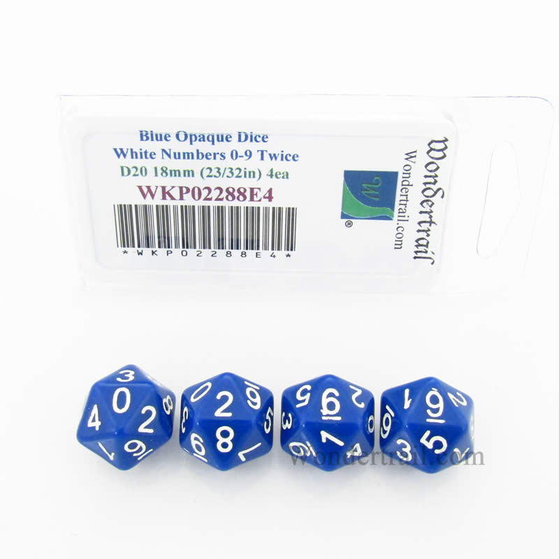Blue Opaque Dice with White Numbers D20 (0 - 9 Twice) 18mm (23/32in) Pack of 4 Wondertrail